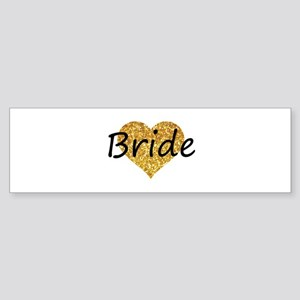 bride gold glitter heart Bumper Sticker