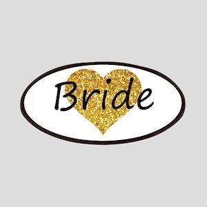 bride gold glitter heart Patch