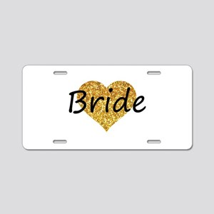 bride gold glitter heart Aluminum License Plate