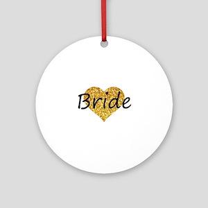 bride gold glitter heart Round Ornament