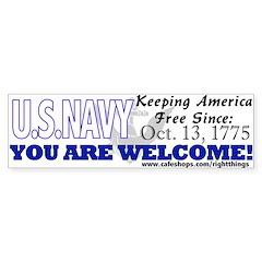 US NAVY Keeping America Free Bumper Bumper Sticker