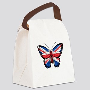 British Flag Butterfly Canvas Lunch Bag