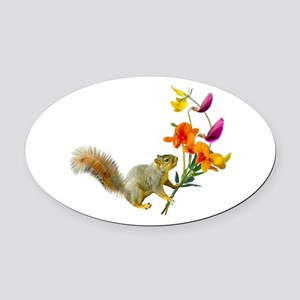 Squirrel Wildflowers Oval Car Magnet