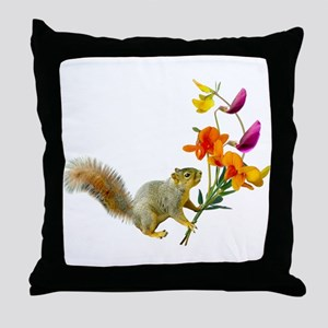 Squirrel Wildflowers Throw Pillow