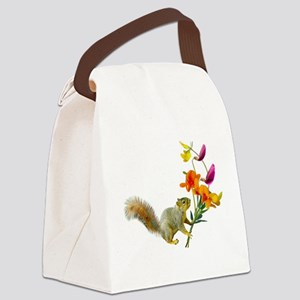 Squirrel Wildflowers Canvas Lunch Bag