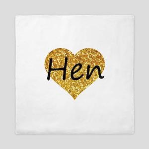 hen gold glitter heart Queen Duvet