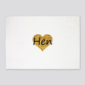 hen gold glitter heart 5'x7'Area Rug