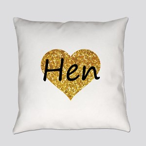 hen gold glitter heart Everyday Pillow