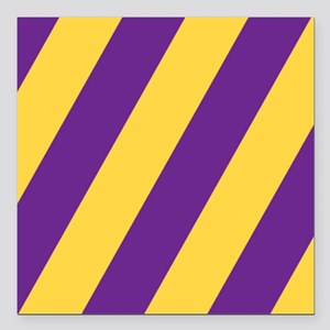 "Roya Purple and Pure Gold Square Car Magnet 3"" x 3"