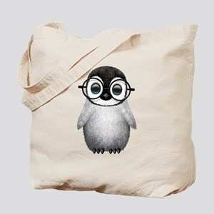 Cute Baby Penguin Wearing Glasses Tote Bag