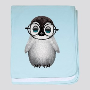 Cute Baby Penguin Wearing Glasses baby blanket