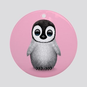 Cute Baby Penguin on Pink Ornament (Round)