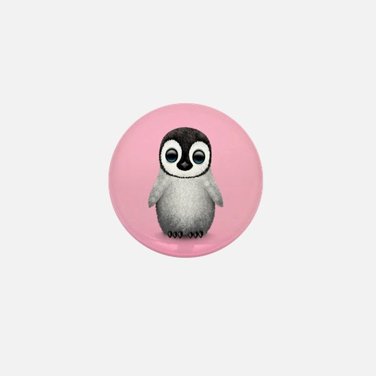 Cute Baby Penguin on Pink Mini Button