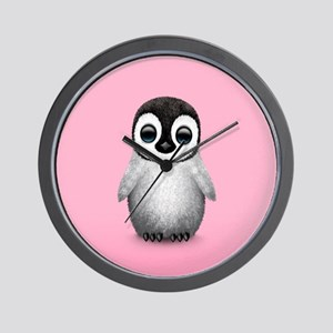 Cute Baby Penguin on Pink Wall Clock