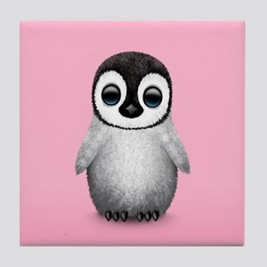 Cute Baby Penguin on Pink Tile Coaster