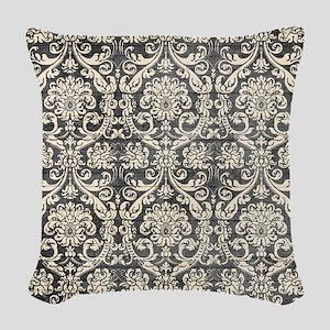 Popular Vintage Black White Damask Pattern Woven T