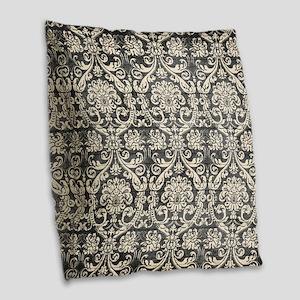 Popular Vintage Black White Damask Pattern Burlap
