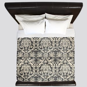 Popular Vintage Black White Damask Pattern King Du