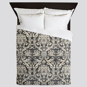 Popular Vintage Black White Damask Pattern Queen D