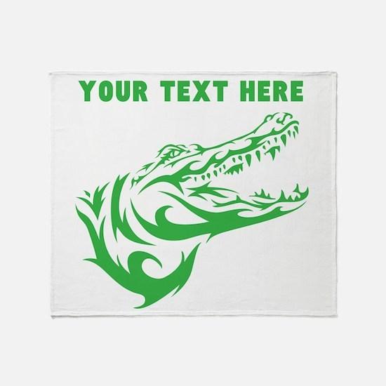 Custom Green Alligator Head Throw Blanket