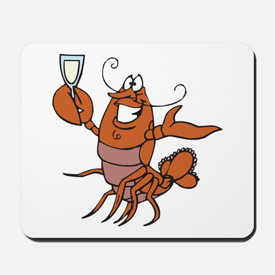 Toasting Wine Lobster Mousepad