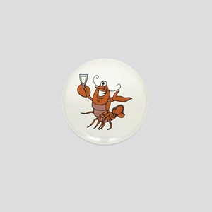 Toasting Wine Lobster Mini Button