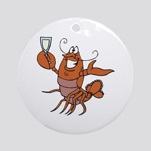 Toasting Wine Lobster Ornament (Round)