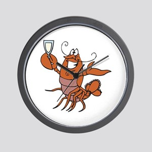 Toasting Wine Lobster Wall Clock