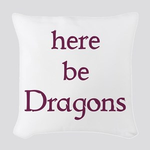 Here Be Dragons 002c Woven Throw Pillow