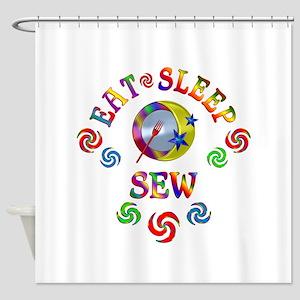 Eat Sleep Sew Shower Curtain