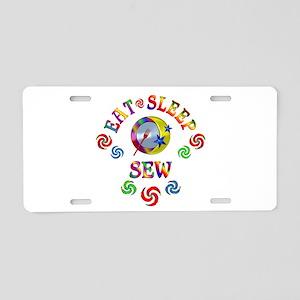 Eat Sleep Sew Aluminum License Plate