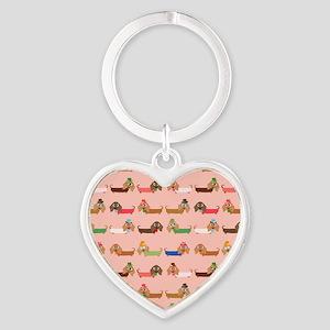 Delightful Dachshunds Heart Keychain