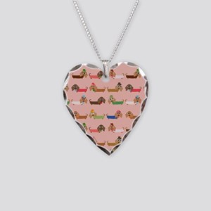 Delightful Dachshunds Necklace Heart Charm