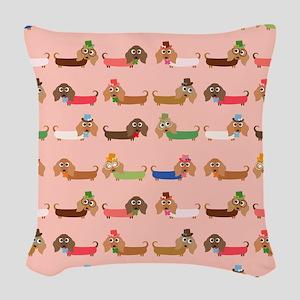 Delightful Dachshunds Woven Throw Pillow