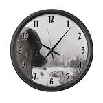 Keeshond at Shadow's Creek Large Wall Clock