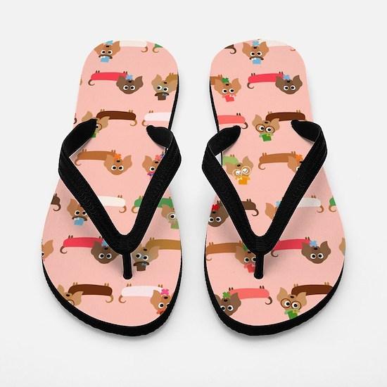 Delightful Dachshunds Flip Flops