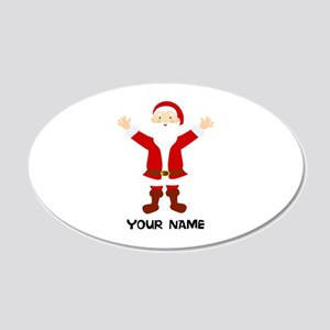 Christmas Santa Personalized 20x12 Oval Wall Decal