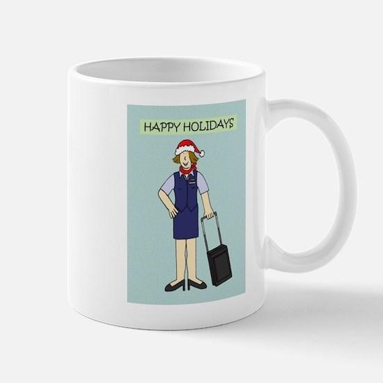 Happy Holidays from flight attendant. Mugs
