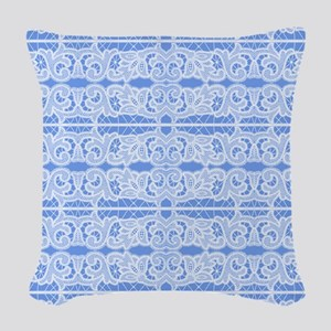 Blue and White Victorian Lace Woven Throw Pillow