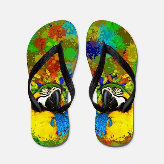 Gold and Blue Macaw Parrot Fantasy Flip Flops