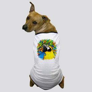 Gold and Blue Macaw Parrot Fantasy Dog T-Shirt