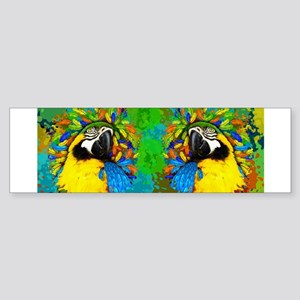 Gold and Blue Macaw Parrot Fantasy Bumper Sticker