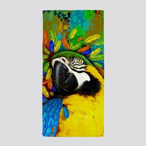 Gold and Blue Macaw Parrot Fantasy Beach Towel