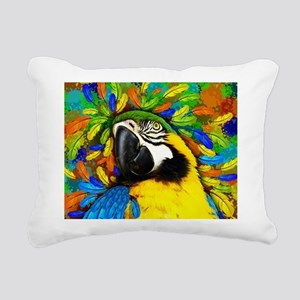 Gold and Blue Macaw Parrot Fantasy Rectangular Can