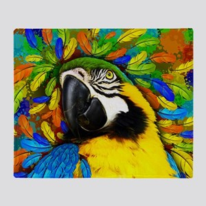 Gold and Blue Macaw Parrot Fantasy Throw Blanket