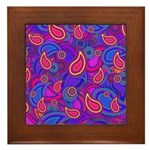 Purple Paisley Pattern Framed Tile
