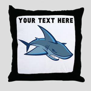 Custom Blue Shark Throw Pillow