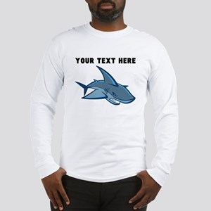Custom Blue Shark Long Sleeve T-Shirt