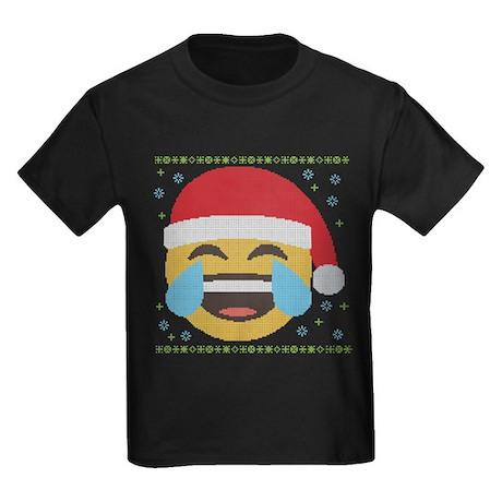 Emoji Santa LOL Kids Dark T-Shirt