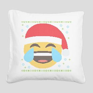 Emoji Santa LOL Square Canvas Pillow